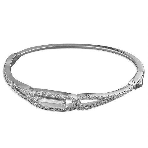 Ladies Sterling Silver Cubic Zirconia Bangle